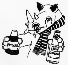 Causes of common cold remembered as rhinocerus (Rhinovirus) holding a bottle of Corona beer (Coronavirus) in one hand and a bottle of Nyquil (common cold) in the other